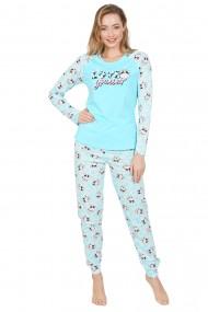 Pijama dama din bumbac, model vacute cu maneca lunga si pantalon lung