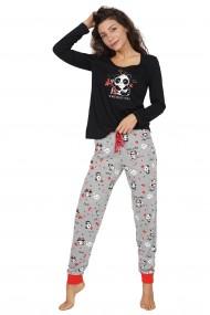 Pijama dama din bumbac, model panda cu maneca lunga si pantalon lung
