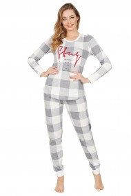 Pijama dama din bumbac, model carouri, cu maneca lunga si pantalon lung