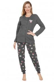 Pijama dama din bumbac, model Koala, cu nasturi, maneca lunga si pantalon lung
