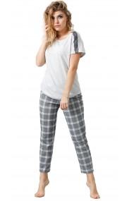 Pijama din bumbac, tricou cu maneca scurta si pantalon lung