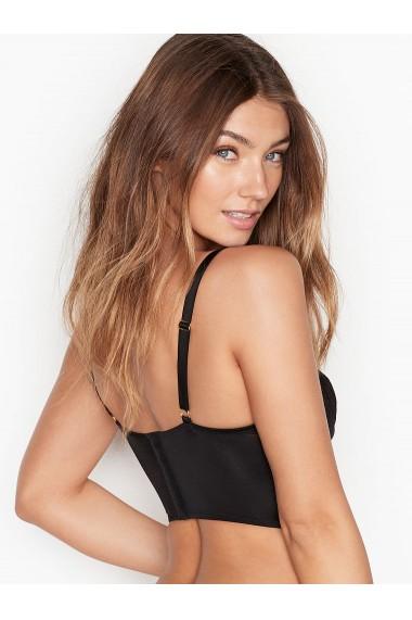 Sutien Victoria`s Secret Lace Trim Plunge Long Line Bra Black Luxe