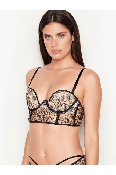 Sutien Victoria`s Secret Floral Embroidered Long Line Bra Black Luxe