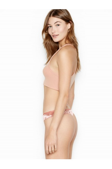 Slipi Victoria`s Secret Thong Panty Velvet Metallic Pink