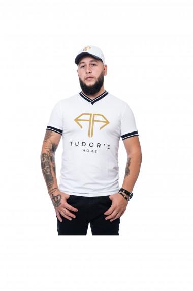 Tricou Guler V TUDOR'SHOME Alb
