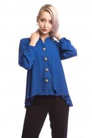 Camasa asimetrica Tinka nasturi decorativi albastra