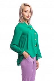 Camasa asimetrica Tinka nasturi decorativi verde