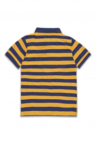 Tricou cu guler si dungi galbene