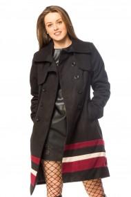 Palton Tinka negru cu dungi mov