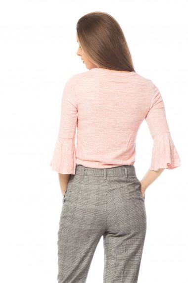 Pulover basic Tinka cu volane maneci roz
