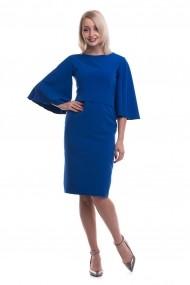 Rochie de zi midi Tinka maneci evazate albastra