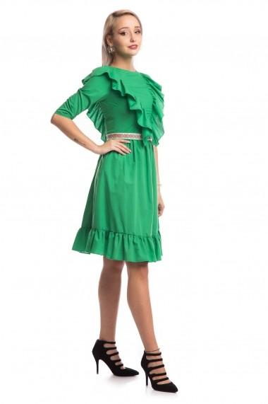 Rochie de zi Tinka cu motive traditionale verde