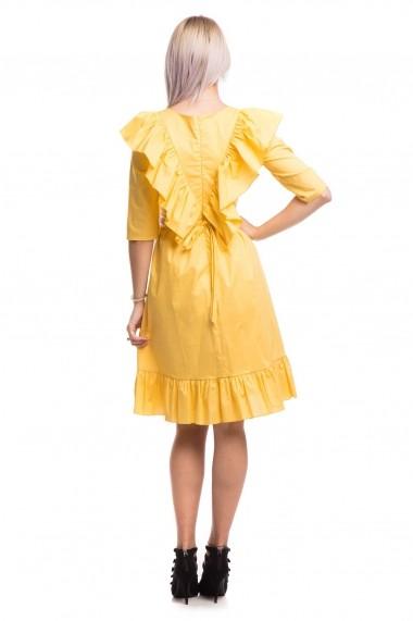 Rochie de zi scurta Tinka motive traditionale galben