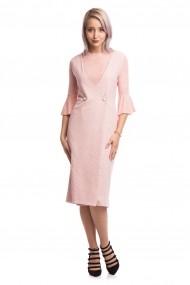 Rochie midi tip sarafan Tinka in carouri roz