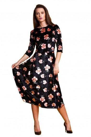 Rochie de seara midi Tinka catifea print floral