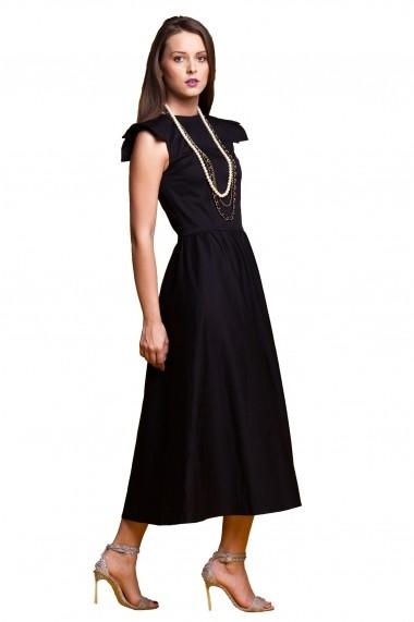 Rochie de zi midi Tinka pliuri pe umeri neagra