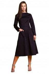 Rochie de zi midi Tinka cu buzunare neagra