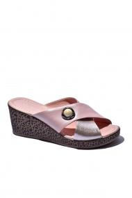 Papuci piele naturala Torino cod 040 roz sidef