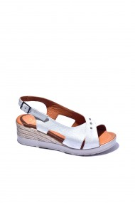Sandale plate piele naturala Torino cod 130-016 alb sidef