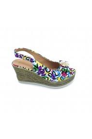 Sandale cu toc piele naturala Torino cod 1456-01 multicolor