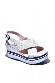 Sandale cu toc piele naturala Torino cod 1477 argintii