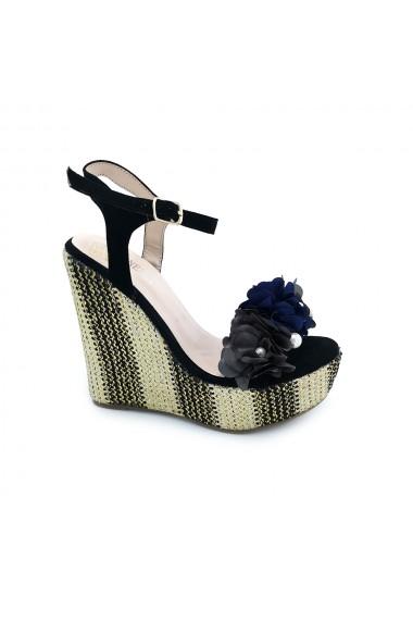 Sandale piele ecologica intoarsa Torino cod 17-2 negru+gri