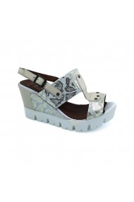 Sandale cu toc piele naturala Torino cod 381 bej+auriu