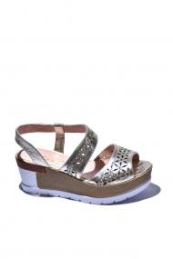 Sandale cu toc piele naturala Torino cod 500 auriu