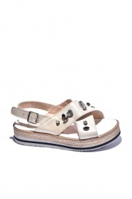 Sandale plate piele naturala Torino cod 529-01 aurii