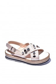 Sandale plate piele naturala Torino cod 529 roz sidef