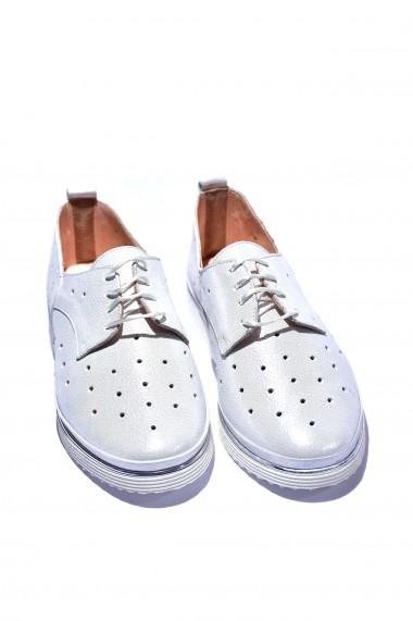 Pantofi piele naturala Torino cod 7020-01 alb sidef