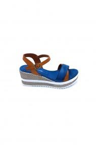 Sandale cu toc piele naturala Torino cod 7107 albastru+bej