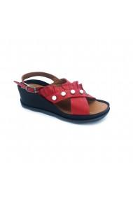 Sandale plate piele naturala Torino cad. 732 rosu