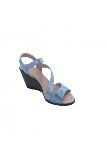Sandale cu toc piele naturala Torino cod 902 blue sidef