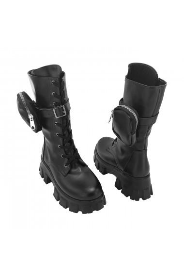 Ghete Torino piele ecologica lacuita cod V-981-0162 negru