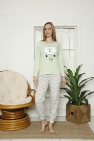 Pijama dama cu maneca lunga si pantaloni lungi imprimeu urs Verde deschis