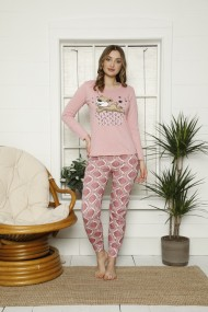 Pijama dama cu maneca lunga si pantaloni lungi imprimeu urs somnoros Roz