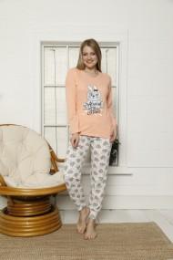 Pijama Toski cu maneca lunga si pantaloni lungi imprimeu iepuras Portocaliu