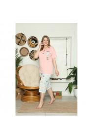 Pijama dama big size din bumbac cu imprimeu stelute Roz