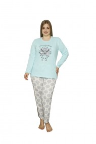 Pijama dama big size din bumbac cu imprimeu lotus flowers