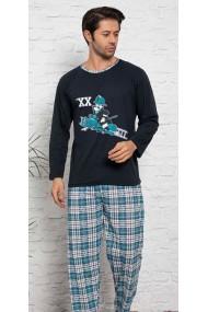 Pijama cu maneca lunga si pantaloni lungi, Negru