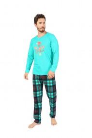 Pijama cu maneca lunga si pantaloni lungi 100% bumbac Turcoaz,imprimeu Snow