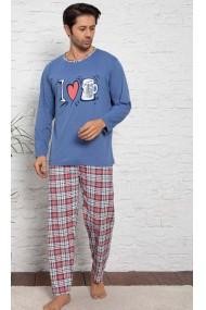 Pijama cu maneca lunga si pantaloni lungi, Albastru inchis, imprimeu halba de bere