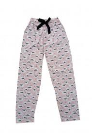 Pijama lungi de pijama Toski roz cu oite