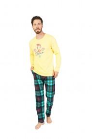 Pijama cu maneca lunga si pantaloni lungi 100% bumbac Galben,imprimeu Snow