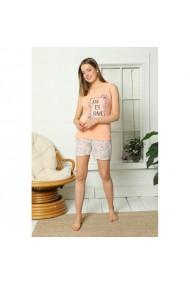 Pijama dama din bumbac imprimeu Awesome Portocaliu
