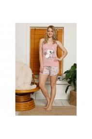 Pijama dama din bumbac imprimeu Flamingo Roz