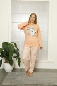 Pijama dama big size din bumbac, cu imprimeu love you