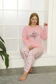 Pijama dama big size din bumbac, cu imprimeu floral