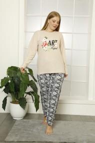 Pijama dama big size din bumbac, cu imprimeu art fraghant